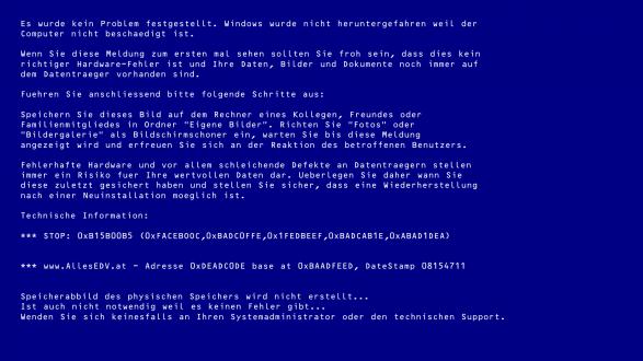 Bild: Bluescreen of Death (BSOD) Hintergrundbild